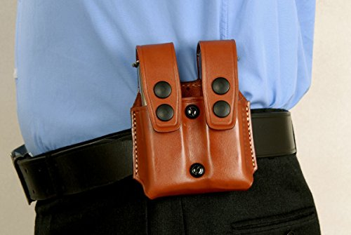 MASC HOLSTER Premium Leather Double Magazine Carrier Paddle Fits, Glok Magazines & Similar New, Brown Color