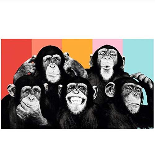 MULMF Grappige aapen Canvas foto's op de muur poster en afdrukken Moderne dieren muurkunst Canvas foto's kinderkamer decoratie - 50X80cm zonder lijst