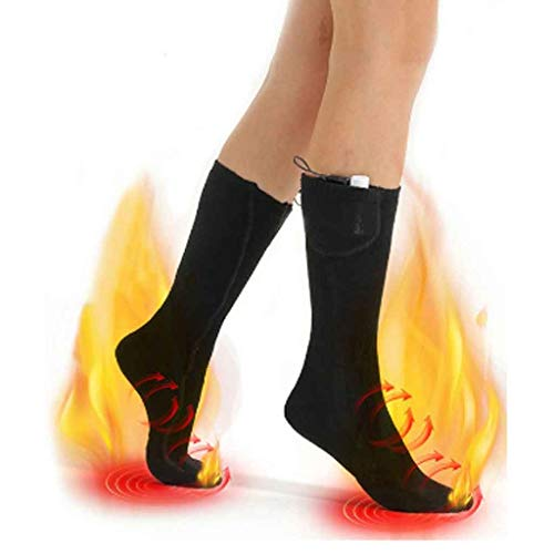 JFTMY Elektrische beheizte Socken Winter beheizte Socken Batteriebetrieben Elektro Fußwärmer Herren Frauen Thermal Winter Wamer Sports Socken