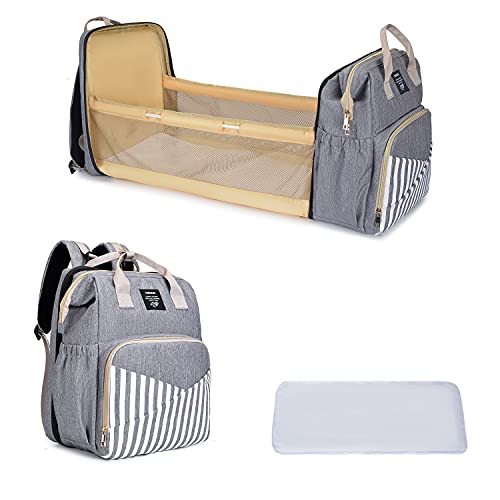 Diaper Bag Backpack with Changing Station, OSOCE Baby Bag with Folding Crib for Moms Dads   Portable Bassinets   Large Capacity Multi-Function...