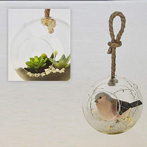 Ø 16cm GlasKugel Kugelvase Hängevase Dekoglas zum Hängen Auswahl Rund Pflanzenglas Hängende Kristall Glas Kerzenhalter,Glaskugeln für Teelichthalter, Kreative Haus Hängende Glasball Dekoration