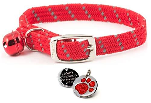 ANCOL, collare rosso riflettente elastico e morbido per gatti con incisione personalizzabile e stampa di zampa di gatto. Etichetta identificativa.