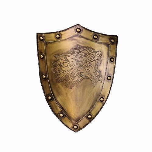 KCCCC Escudo Medieval Lobo Escudo Escultura de la Pared de la decoracin 45x61cm latn Laminado en fro de Hojas para Nios Disfraz de Caballero (Color : Brass, Tamao : 45x11x61cm)