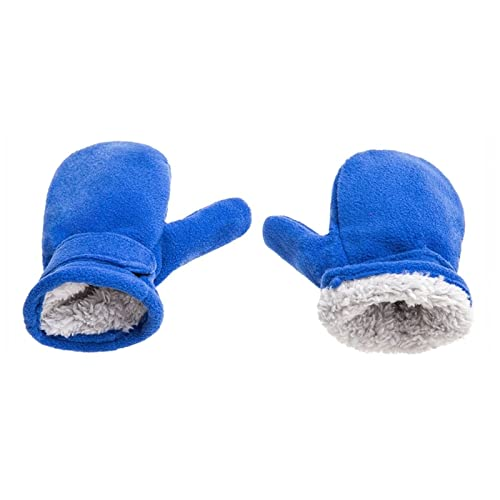 HAIO Winter Warmth and Thickened Gloves, Children' s Winter Mittens Lined with Fleece, Children Easy to Wear Outdoor Mittens (Color : Blue, Size : Large)