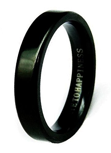 [スワンユニオン] swanunion 「幸せの鍵」刻印 ステンレス指輪 ペア 黒 ブラック[chsr16 3号〜23号]