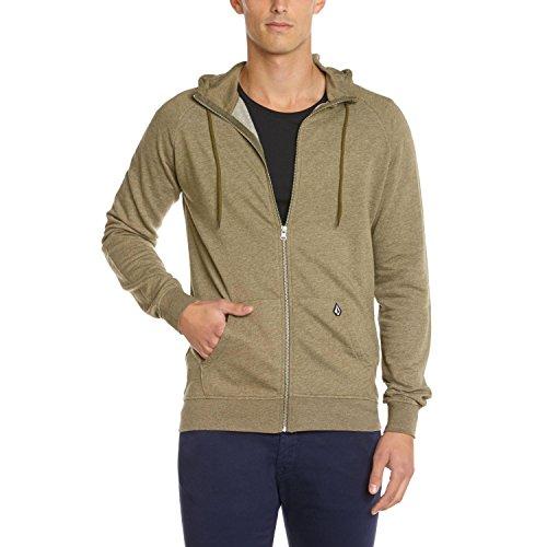 Volcom Timesoft - Sweat-shirt à capuche - Uni - Manches longues - Homme - Vert (Fdr) - X - Large (Taille fabricant: XL)