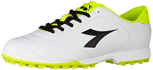 Diadora 6play TF, Chaussures de Football Homme, Blanc Cassé (Bianco Nero Giallo Fluo), 41 EU