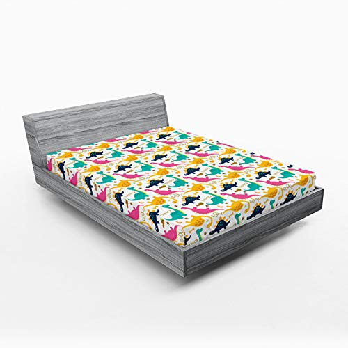 Ambesonne Dino Fitted Sheet, Rhythmic Colorful Dinosaurs on Plain Background, Bed Cover with All-Round Elastic Deep Pocket for Comfort, King Size, Multicolor