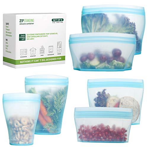 Zip Standing Reusable food container, silicone bag, 6 Pcs Zip Containers Can be used for fruit and vegetable snacks, etc. Microwave Dishwasher and Freezer Usable (blue)…