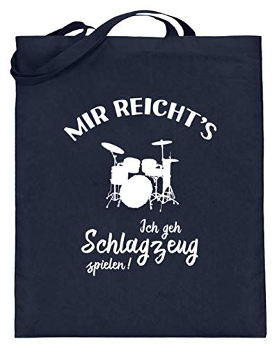 shirt-o-magic Drummer: Ich geh Schlagzeug spielen! - Jutebeutel (mit langen Henkeln) -38cm-42cm-Deep Blue