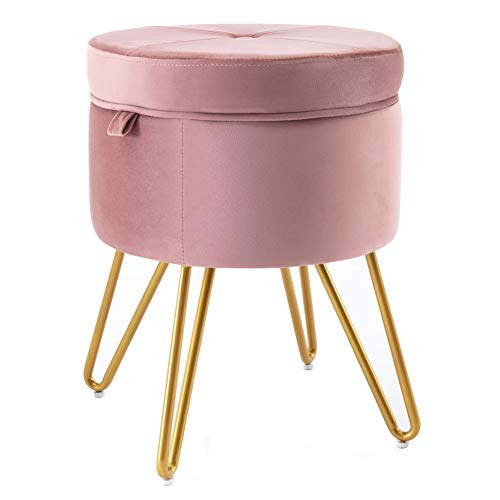 CoVibrant Velvet Vanity Stool with Storage and Tray Mid Century Small Round Ottoman for Bedroom Makeup Desk Living Room (Pink Velvet)