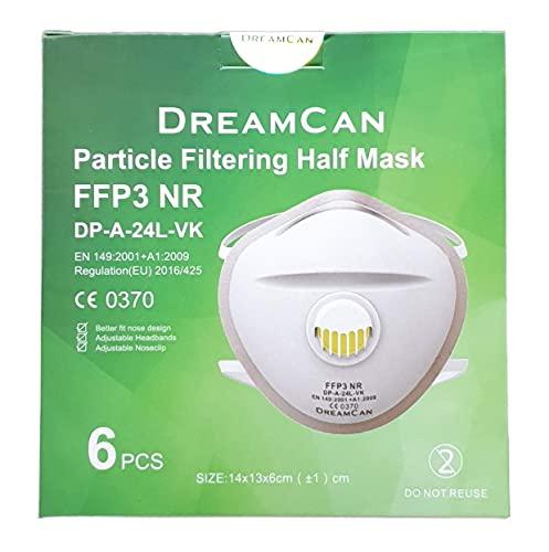 6X FFP3 Atemschutzmaske 99% Filter DreamCan Halbmaske Staubmaske Atemmaske Schutzmaske mit Ventil - 6