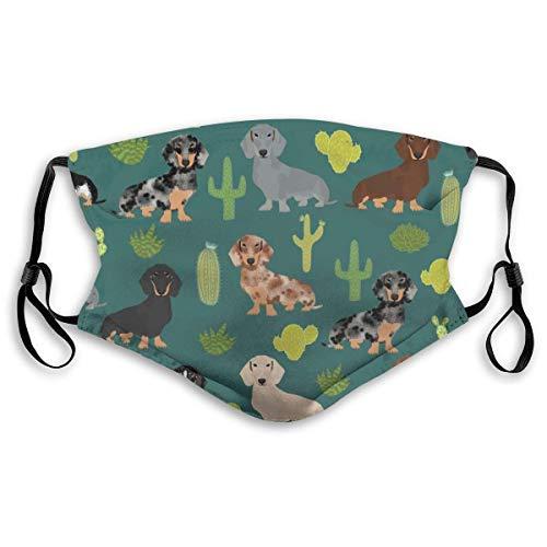 Mouth Scarf Unisex Cushion Cover Doxie Cactus Fabric Cute Dachshund Dog Fabrics Designs M Nose Clip Kermit For Teens Men Women