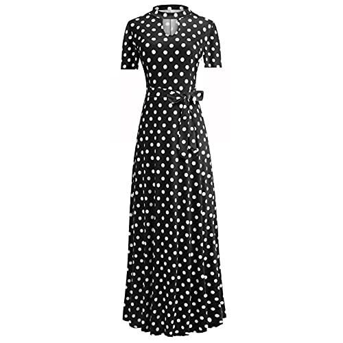 routinfly Maxikleider für Damen, modisch, lässig, Rundhalsausschnitt, kurze Ärmel, Bandage, Sommer, bedruckt, Schärpen, Kleid, elegantes Partykleid