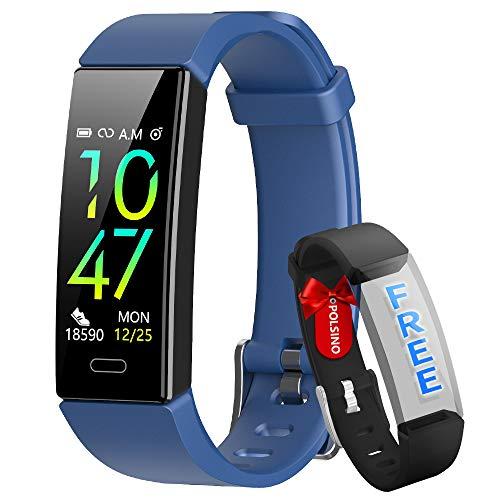 HOFIT Fitness Tracker, reloj pulsera inteligente Activity Tracker impermeable IP68, presión arterial, pulsómetro, podómetro SmartWatch para hombre y mujer (azul)
