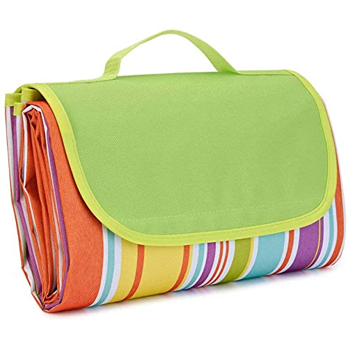 1 manta de pícnic para playa, de viaje, lavable a máquina, de tela Oxford verde, 145 x 80 cm