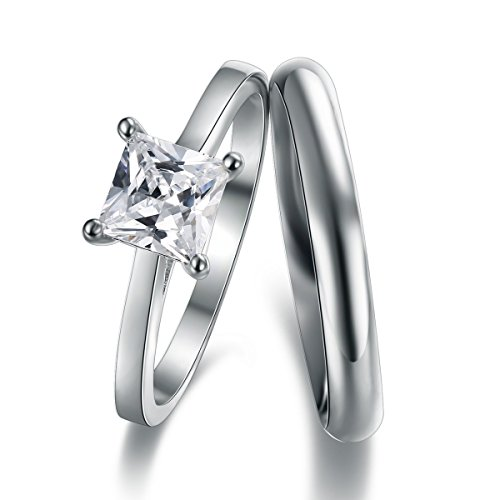 Classic Princess Cut Solitaire Engagement Ring With 3mm D-Shape Heavy Silver Wedding Band Ring In Sizes Complete With Gift Ring Box (R)