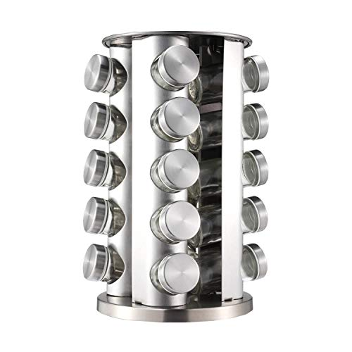Data Deer Round 20 Empty Jars Spice Rack Organizer for Cabinet and Adjustable Spice Rack With 113 Preprinted Chalkboard Label,1 Chalk Mark Pen,1 Silicone Collapsible Funnel,Silver