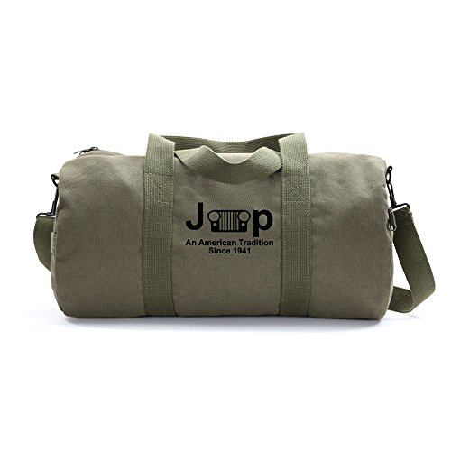 An American Tredition Army Sport Heavyweight Canvas Duffel Bag in Olive & Black, Large