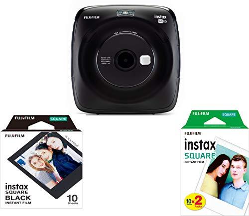 Fujifilm instax square SQ 20, Sofortbildkamera mit Filmset special, schwarz
