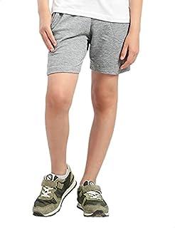 Kady Cotton Drawstring Elastic Waist Side-Pocket Sweat Shorts for Kids - Grey, 10 Years