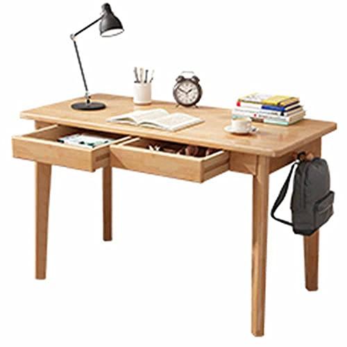 LJFYXZ Mesa de Ordenador Escritorio Simple para Estudiantes Todo el Marco de Madera Maciza con cajón Escritorio Grande Escritorio de Oficina en casa 100x55x75cm(Color:Color Madera)
