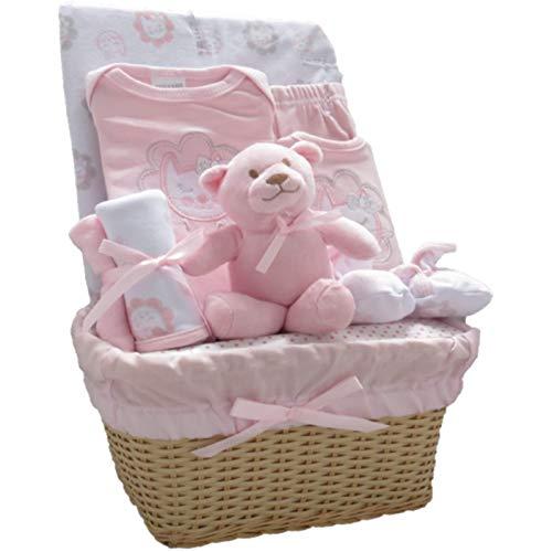 Bee Bo - Cadeau de naissance 0-3 mois - peluche éléphant ou chien, body, pantalon, chaussons, bavoir - Rose