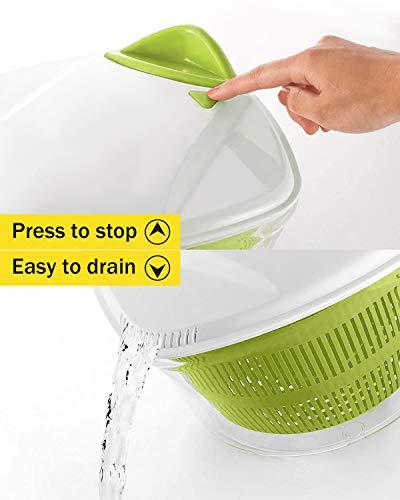 Focovida Salatschleuder 5L mit Deckel und Nudelzange, Design Patent Großer Salattrockner inkl. Salatschüssel zum Servieren & Ablaufsieb für Wasser aus Kunststoff, Hohe Effizienz, Transparent - 4