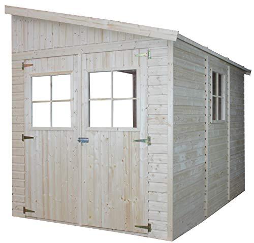 TIMBELA Holz Gartenschuppen (ohne Seitenwand) - Abstellkammer mit Fenstern - H244x202x298 cm/6,02 m2 Naturholz-Shiplap-Schuppen - Gartenwerkstatt - Fahrrad- Geräteschuppen M339