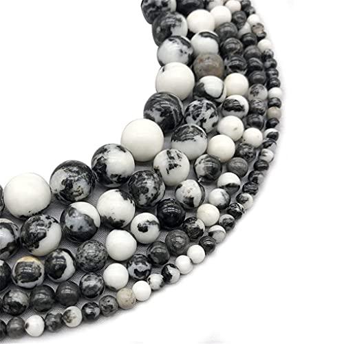 Cuentas sueltas redondas de piedra de jaspe de cebra en blanco y negro natural de 4/6/8/10/12 mm para hacer joyas en blanco y negro de 4 mm aprox. 93 cuentas