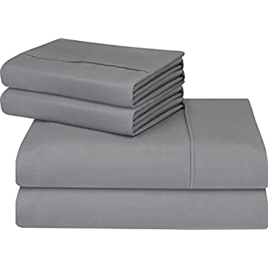 Utopia Bedding Soft Brushed Microfiber Wrinkle Fade Stain Resistant 4-Piece Queen Bed Sheet Set – Grey