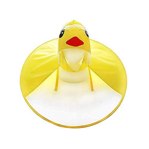 Kids Baby Girls Boys Cartoon Duck Raincoat Magical Toddler Packable UFO Umbrella Poncho Rain Hat (Large) Yellow