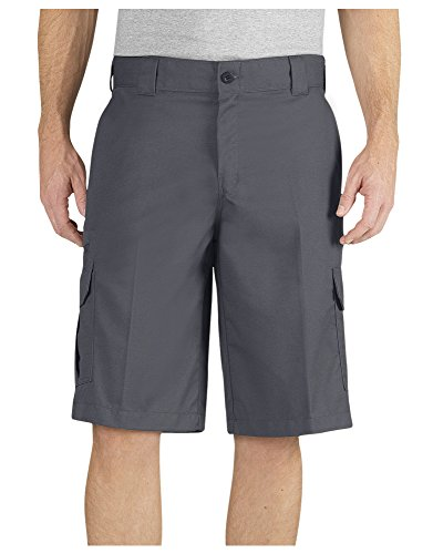 Dickies Men's 13 Inch Relaxed Fit Stretch Twill Cargo Short, Charcoal, 34