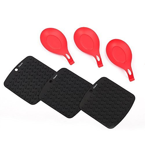 Black Silicone Placemat and Silicone Spoon Rest Pot Holder Jar Opener Garlic Peeler& Spoon Rest Set of 6 Heat Resistant Dishwasher Safe