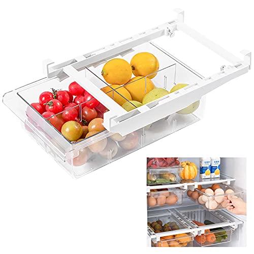 Cassetto Frigo Estraibile Organizer, Cassetto Portaoggetti Frigorifero, Ideale per la Casa, per Verdure e Frutta e Uova