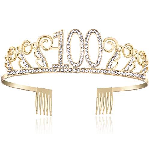 BABEYOND Kristall Geburtstag Tiara Birthday Crown Prinzessin Geburtstag Krone Haar-Zusätze Rosa oder Silber Diamante Glücklicher 18/20/21/30/40/50/60/90 Geburtstag (100 Jahre alt Gold)