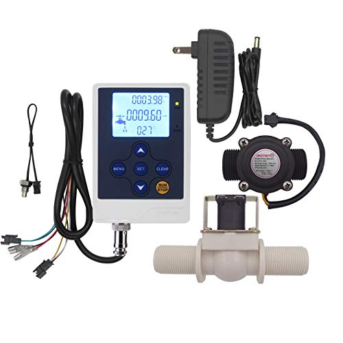 DIGITEN Water Flow Control LCD Display Controller+G3/4 Hall Sensor Flow Meter Flowmeter Counter+G3/4 Solenoid Valve Normally Closed N/C+12V Power