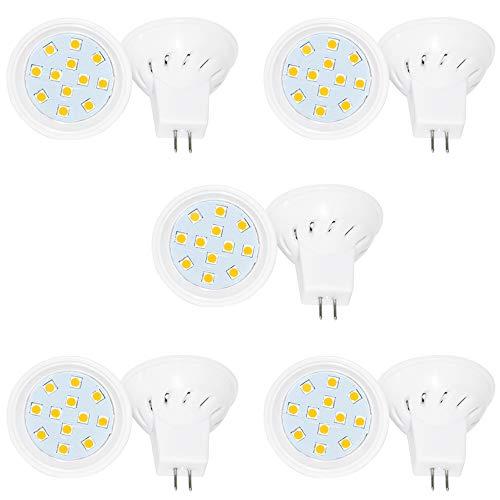 Preisvergleich Produktbild Jenyolon MR11 GU4 LED Lampen Warmweiss 3.5W,  12V,  3000K,  400Lm,  Ersatz für 30W Halogenlampen Glühlampen,  MR11 LED Leuchtmittel klein Birne Spot Licht, 10er Pack