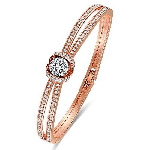 GEORGE · SMITH ❤Cinderella Design Klassischer Silber Damen Armband mit Kristall von Swarovski,Schmuck Damen Armreif Ideal Hochzeit Geburtstag Geschenke für Frauen Schmuck-Box
