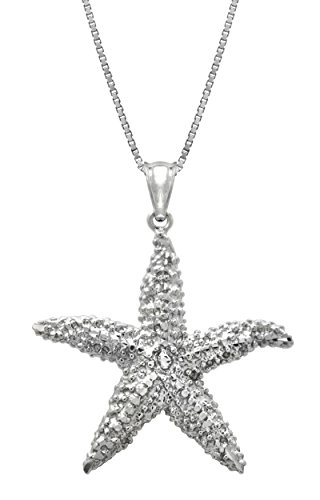 Honolulu Jewelry Company Sterling Silver Textured Starfish Necklace Pendant with 18' Box Chain