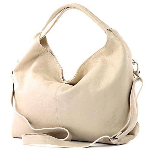 modamoda de - DS26 - ital Damenhandtasche aus Nappaleder, Farbe:Creme