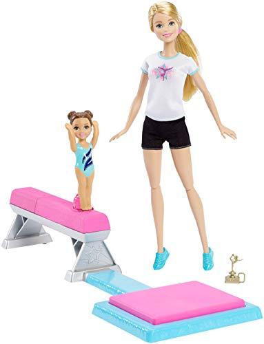 Barbie Métiers coffret professeur de Gymnastique, Poupée Blonde et son élève, avec Poutre et Accessoires, Jouet pour Enfant, DMC37