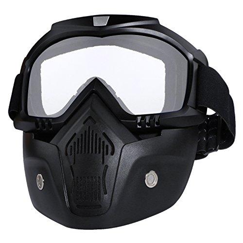 Casco da moto con occhiali, maschera rimovibile, staccabile, caldo antinebbia occhialini, filtro bocca regolabile, cinghia antiscivolo vintage, Harley Bullet Fight motocross, Nero