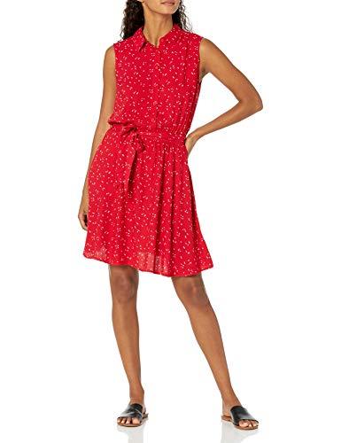 Amazon Essentials Sleeveless Woven Shirt Dress Hemd, Rotes Blatt, S