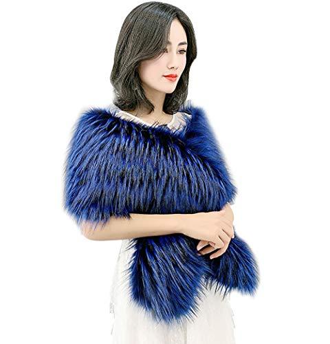 Vannawong - Bufanda de piel para mujer, para invierno, cálido, grande, para la cubierta del hombro azul cobalto Talla única