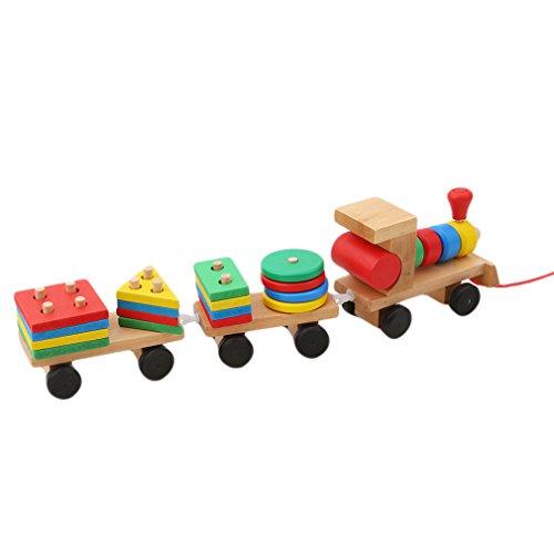 HENGSONG Petit Train en Bois Enfants Jouets Creative Cadeaux Décorations de Table