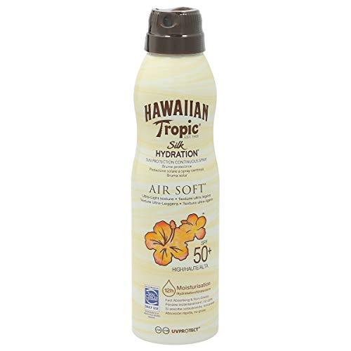 Hawaiian Tropic Bruma Silk Hydration Air Soft SPF 50 - Loción Solar Protectora en Spray de Vaporización , Resistente al Agua hasta 12 Horas , Bruma Solar de 220 ml