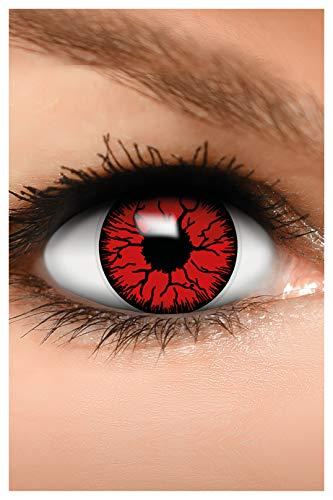 FUNZERA Farbige Halloween Kontaktlinsen rot DEVIL, weich, 2 Stück (1 Paar), Ohne Sehstärke