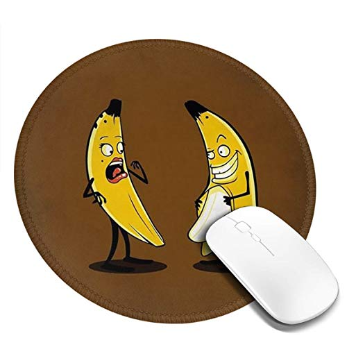 Mouse Pad, Anti Slip Funny Banana Mouse Mat for Desktops, Computer, Pc and Laptops, Customized Round Mouse Pad for Office and Home