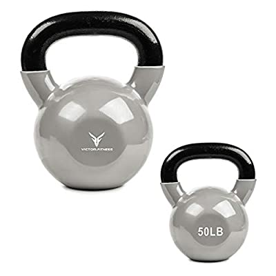 Victor Fitness 30 lb Solid Cast Iron Vinyl Coated Silver Kettlebell with Wide Easy-to-Grip Handle Ages. Great for Weight Training, Crossfit, Squats, and Kettlebell Swings from Victor Fitness